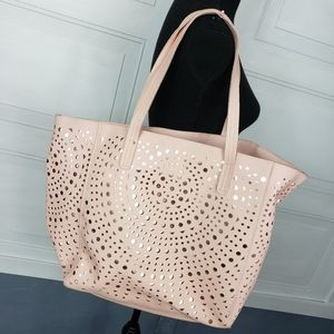 Large Tote Bag Blush Pink with Brassy layer